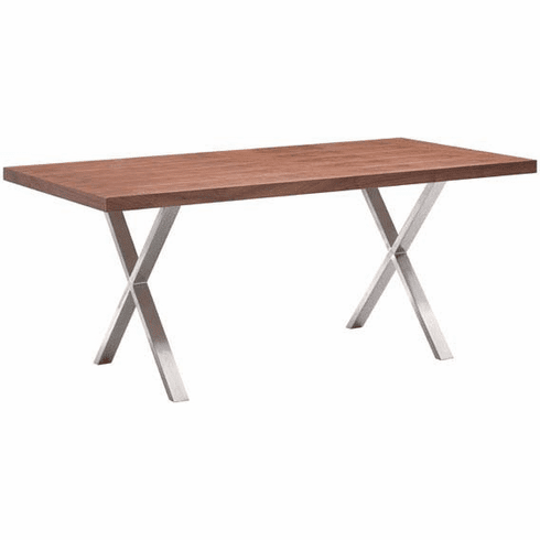 Zuo Renmen Conference Table Walnut, Stainless Steel [100086]