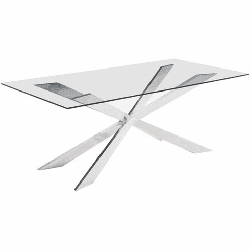 Zuo Rize Conference Table Glass Stainless Steel [100349]