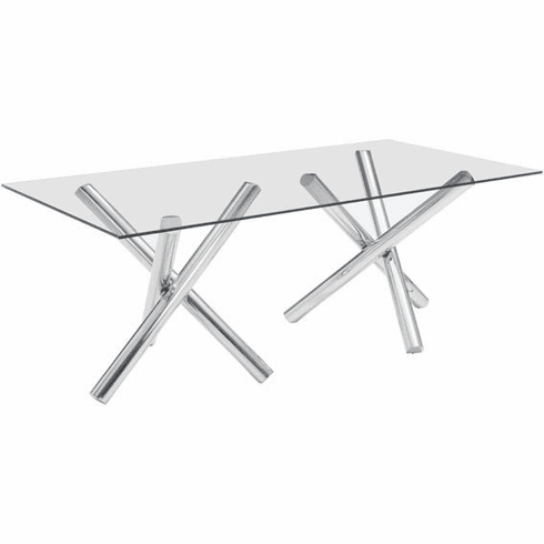 Zuo Stant Rectangular Conference Table, Glass, Stainless Steel [100351]
