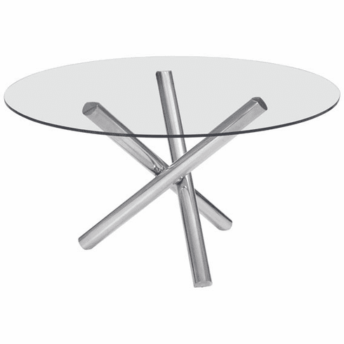 Zuo Stant Round Conference Table, Glass, Stainless Steel [100352]