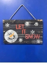 Let It Snow Wooden Snowman Sign