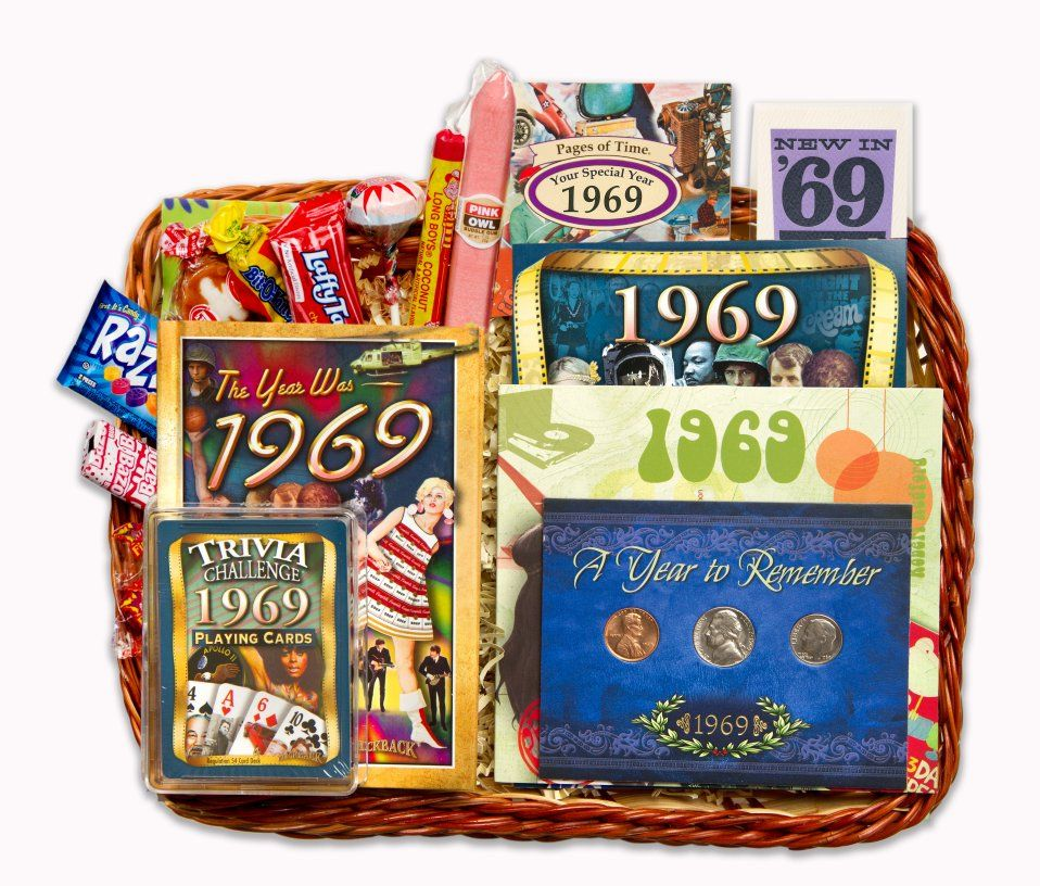 50th Birthday Gift Basket For 1969