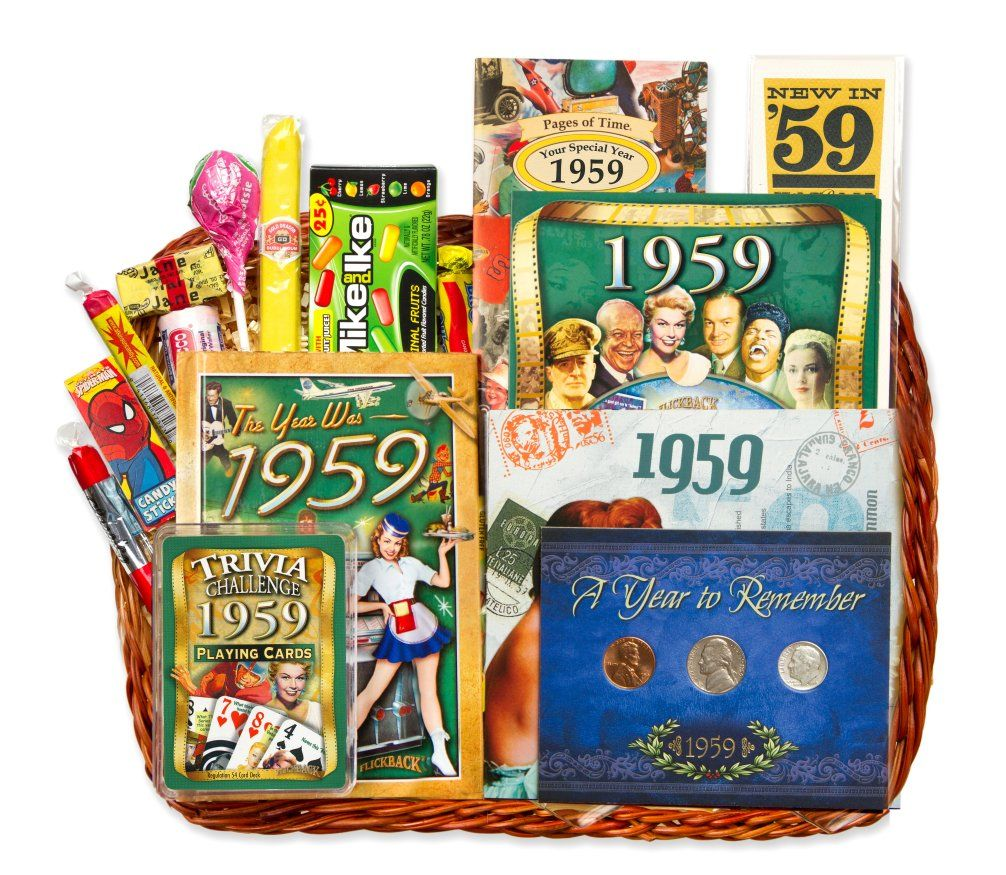 81508a56dbb4 60th Birthday Gift Basket for 1959 with Coins