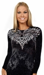 Long Sleeve Feather Heart Burnout Top