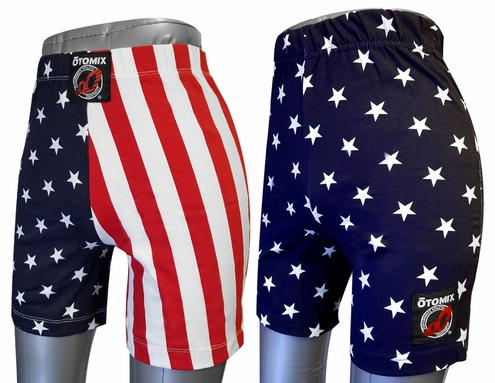 YOUTH & ADULT USA Stars/Stripes Cotton Lycra Athletic Flag Biker Shorts