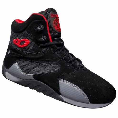 Lady's Black Suede with Red & Carbonite Bodybuilding Gym Shoes