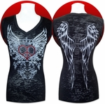 LAST CHANCE! Peace Heart Wing SHORT SLEEVE V-Neck Burnout Tee