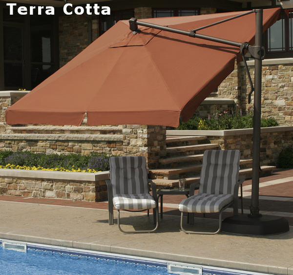 Out Of Stock Furniture: 10' Square Santorini Umbrella With Valance And Bronze Base