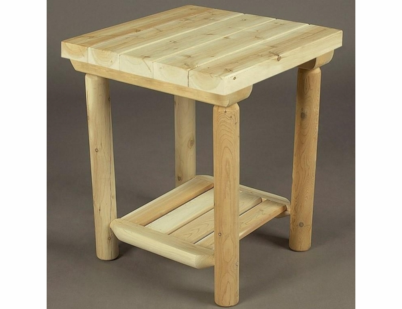 "20"" Cedar Log Style Side Table - Not Currently Available"