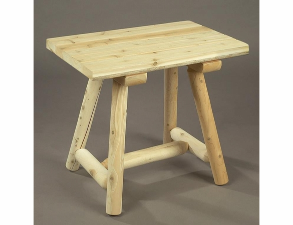 "27"" Rectangular Cedar Log Style Side Table - Not Currently Available"