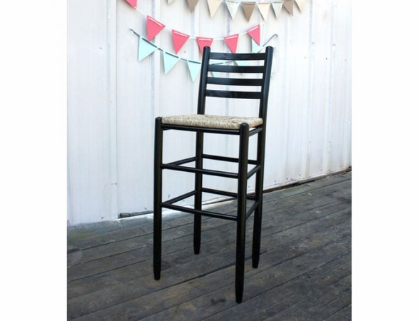 "30"" Dark Barstool with Woven Seat – Color Options"