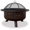 "32"" wide oil rubbed bronze firebowl w/ criss-cross design"