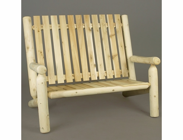 4' High Back Cedar Log Style Garden Settee - Currently Out of Stock