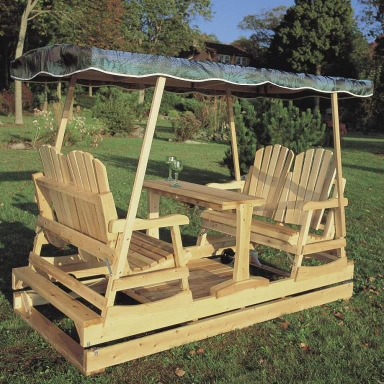 Cedar Wood Garden Chair Double Glider
