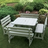 """43"""" Traditional Square Table with 4 Backed Benches"""