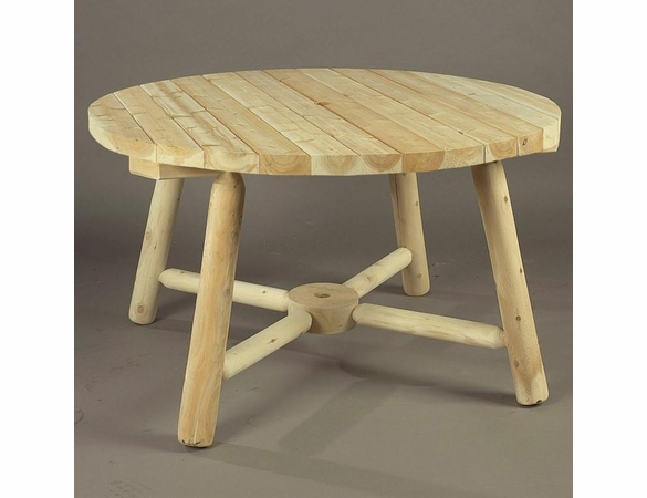 "48"" Rustic Cedar Log Style Round Picnic Table with Umbrella Hole"
