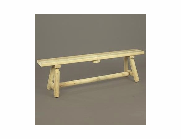 6' Cedar Log Style Backless Bench