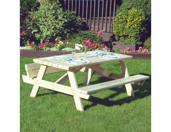 "68"" Square Cedar Traditional Style Picnic Table"