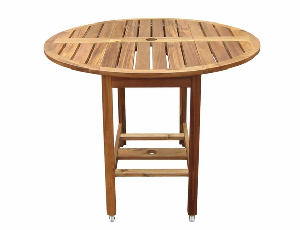Acacia Wood Drop Leaf 40 Quot Round Patio Dining Table