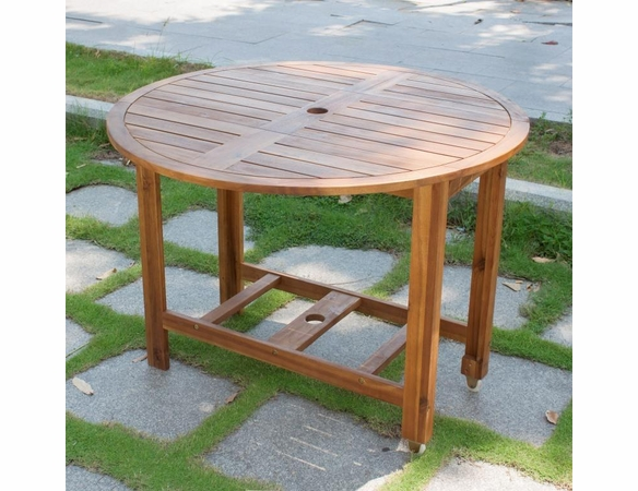 "Acacia Wood Drop Leaf 40"" Round Patio Dining Table"