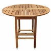 """Acacia Wood Drop Leaf 40"""" Round Patio Dining Table"""