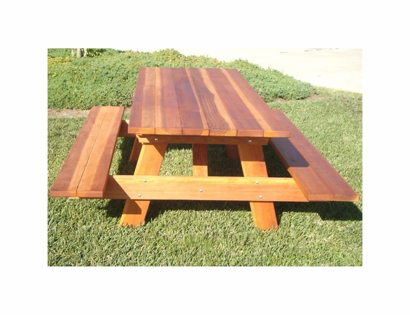 Best Redwood Picnic Table w/ Attached Benches