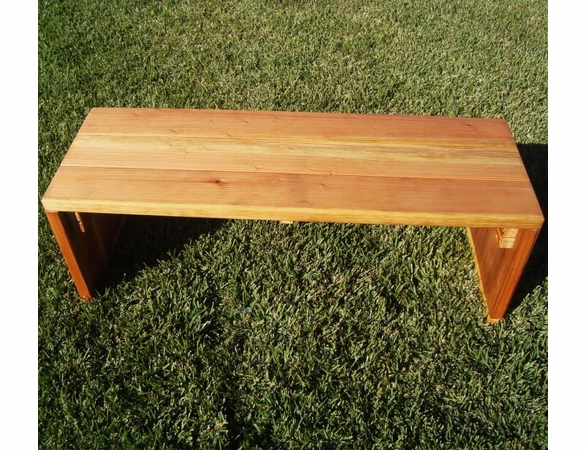 Best Redwood Solid Backless Park Bench