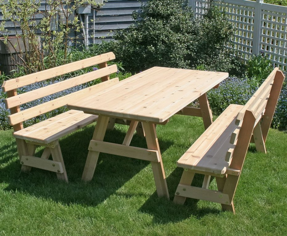 Cedar Wood Classic Picnic Table Set w/ Backed Benches
