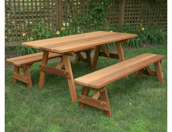 "Cedar 32"" Wide Classic Family Picnic Table Set"