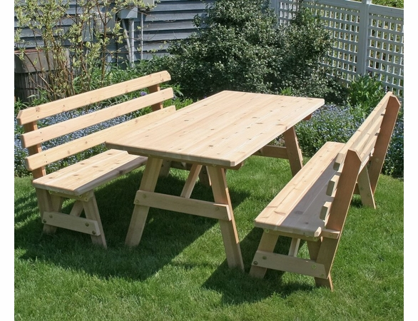 "Cedar 32"" Wide Classic Family Picnic Table Set with Backed Benches"