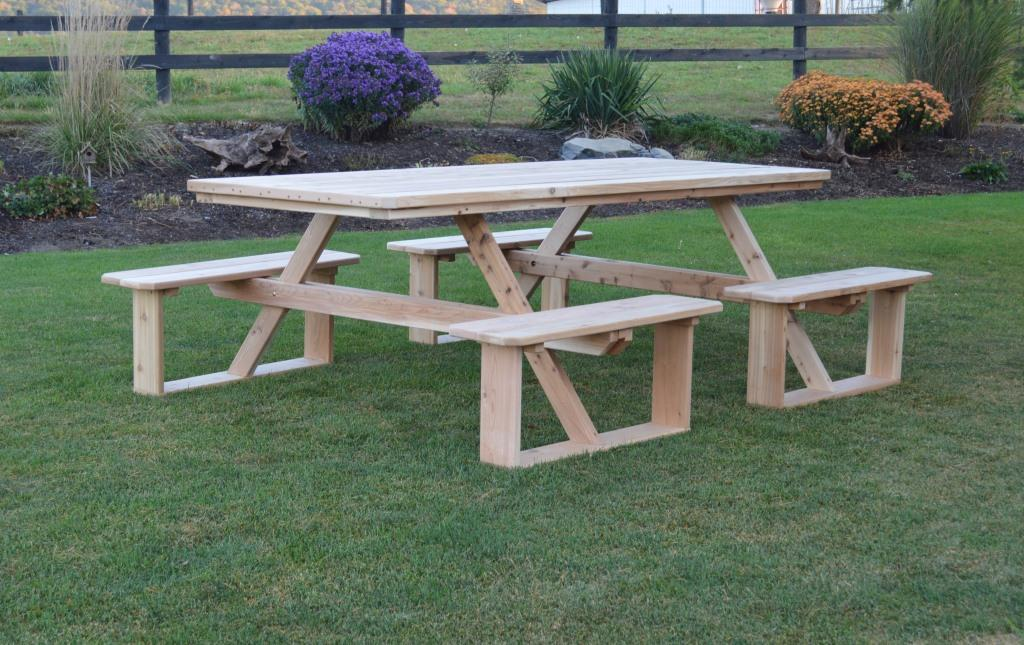 Cedar Wood 8 Walk In Picnic Table With