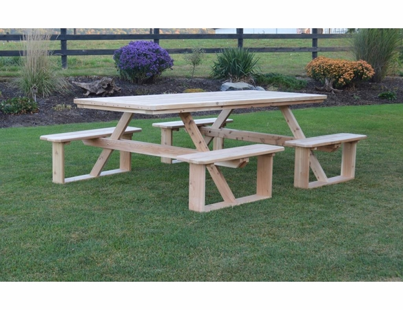 Cedar 8 Foot Walk-in Picnic Table