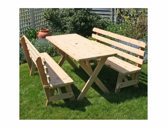 Cedar Backyard Bash Cross-Legged Picnic Table w/ Detached Benches