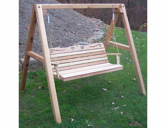 Cedar Country Hearts Porch Swing w/ Stand