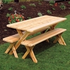 Cedar Cross-legged Table with Benches 4', 5', 6', or 8'