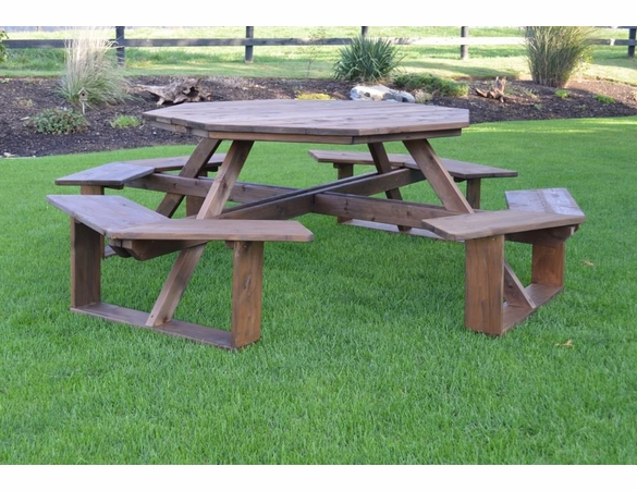 Cedar Wood Octagon Walk In Picnic Table With Benches