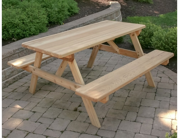 Cedar Park Style Picnic Table with Attached Benches