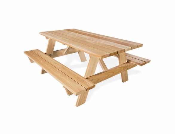 Cedar Picnic Table w/ Attached Benches Kit