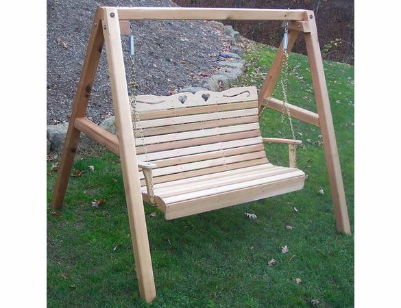 Cedar Royal Country Hearts Porch Swing w/ Stand