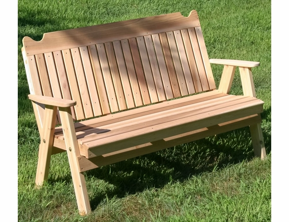 Cedar Straight Back English Garden Bench