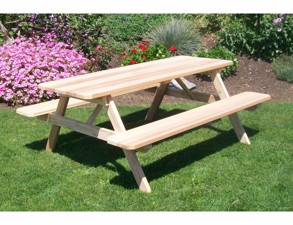 Cedar Table with Attached Benches 4', 5', 6', or 8'