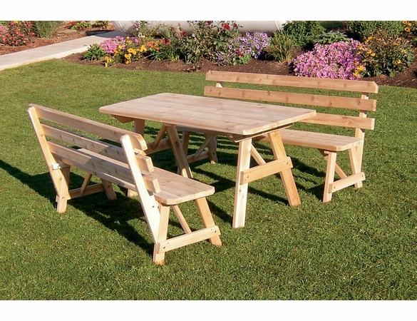 Cedar Traditional Table with 2 Backed Benches 4', 5', 6', or 8'