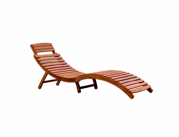 Curved Folding Poolside Hardwood Chaise Lounge