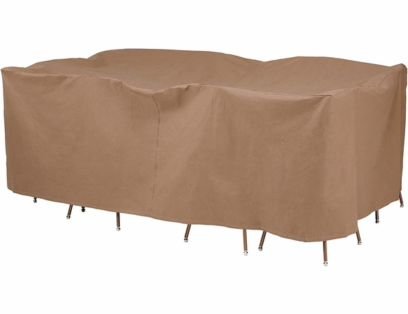 """Duck Covers 140""""L Rectangle Patio Table and Chairs Cover"""