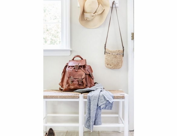 Entryway Bench with Woven Seat