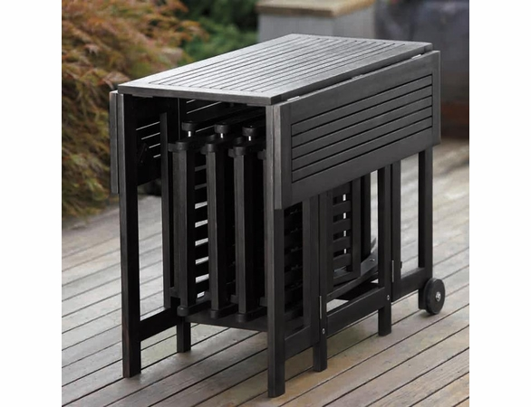 Eucalypus Wood Square Drop Leaf Table in Black
