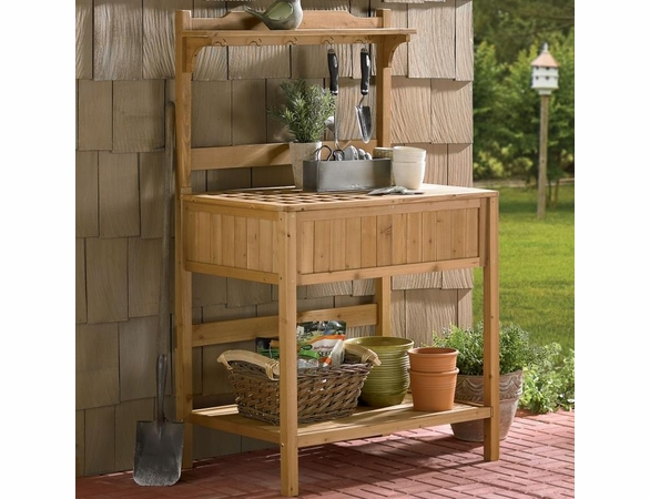 Fir Wood Potting Bench with Recessed Storage