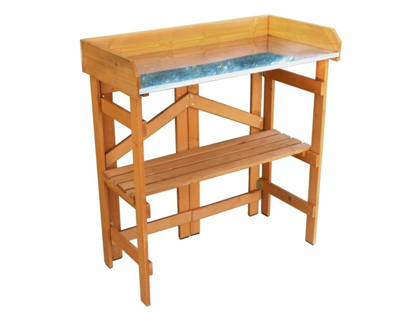 Folding Potting Bench with Zinc Work Surface