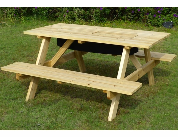 Hemlock Wood Picnic Table & Attached Benches Kit - Built in Cooler