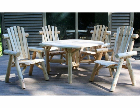 Log Style Dining Set w/ Chairs - Available to Ship Aug 30